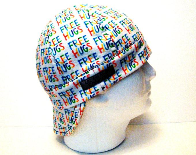 "22 1/4"" Free Hugs welders cap size 7 1/8 hard hat liner beanie skull cap construction tradesman gas fitter biker"