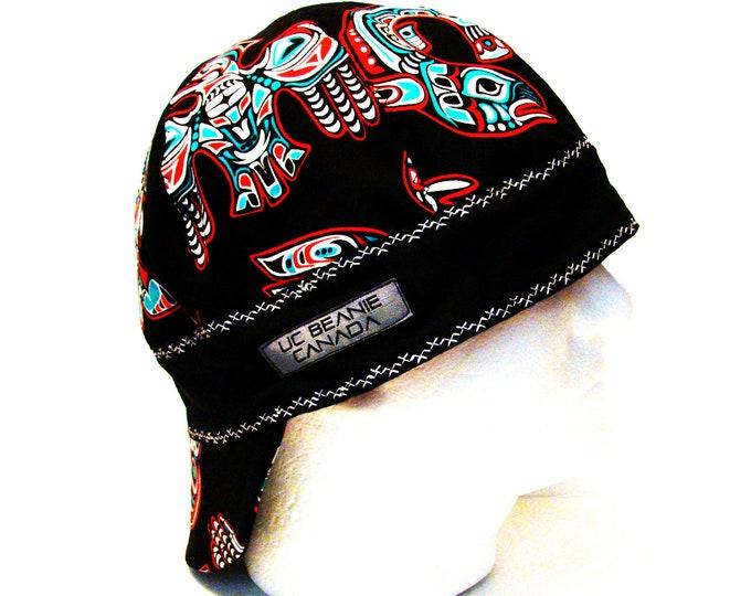 "22 1/4"" Black Tribal Art welders cap size 7 1/8 hard hat liner beanie skull cap construction tradesman gas fitter biker"