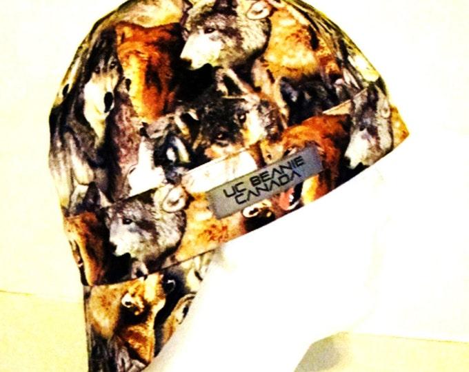 Wolf Wolves welders cap reversible hard hat liner beanie skull cap construction tradesman gas fitter biker