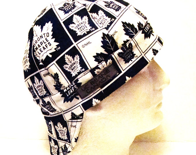 Toronto Maple Leafs NHL Canadian Hockey welders cap hard hat liner reversible beanie skull cap construction tradesman gas fitter biker