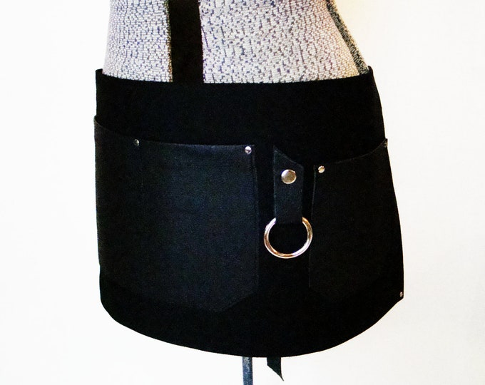Black Bull Denim and Leather pocket Half Apron with towel/tool ring. Personalized, Made in Canada. restaurant uniform, waiter, waitress.