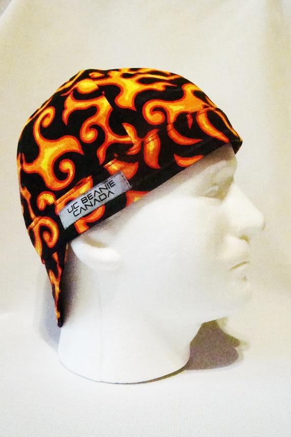 f80d34c4a53 Orange flames welders cap hard hat liner beanie skull cap construction  tradesman gasfitter biker