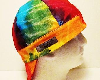 Canvas Tie Dye Heavy Duty welders cap hard hat liner reversible beanie skull cap construction tradesman gasfitter biker