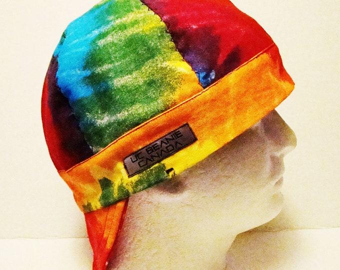 """24 1/2""""  canvas heavy duty Tie Dye welders cap size 7 3/4 hard hat liner reversible beanie skull cap construction trades fitter"""