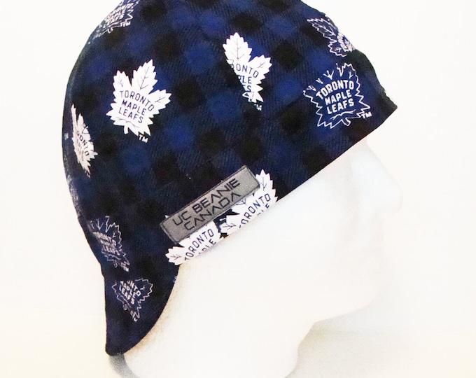 "23 1/2"" Buffalo Plaid Toronto Maple Leafs NHL Canadian Hockey welders cap Size 7 1/2 hat liner reversible beanie tradesman gas fitter biker"