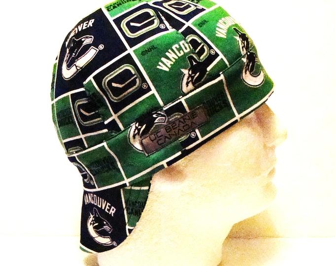 Vancouver Canucks NHL Canadian Hockey welders cap hard hat liner reversible beanie skull cap construction tradesman gas fitter biker