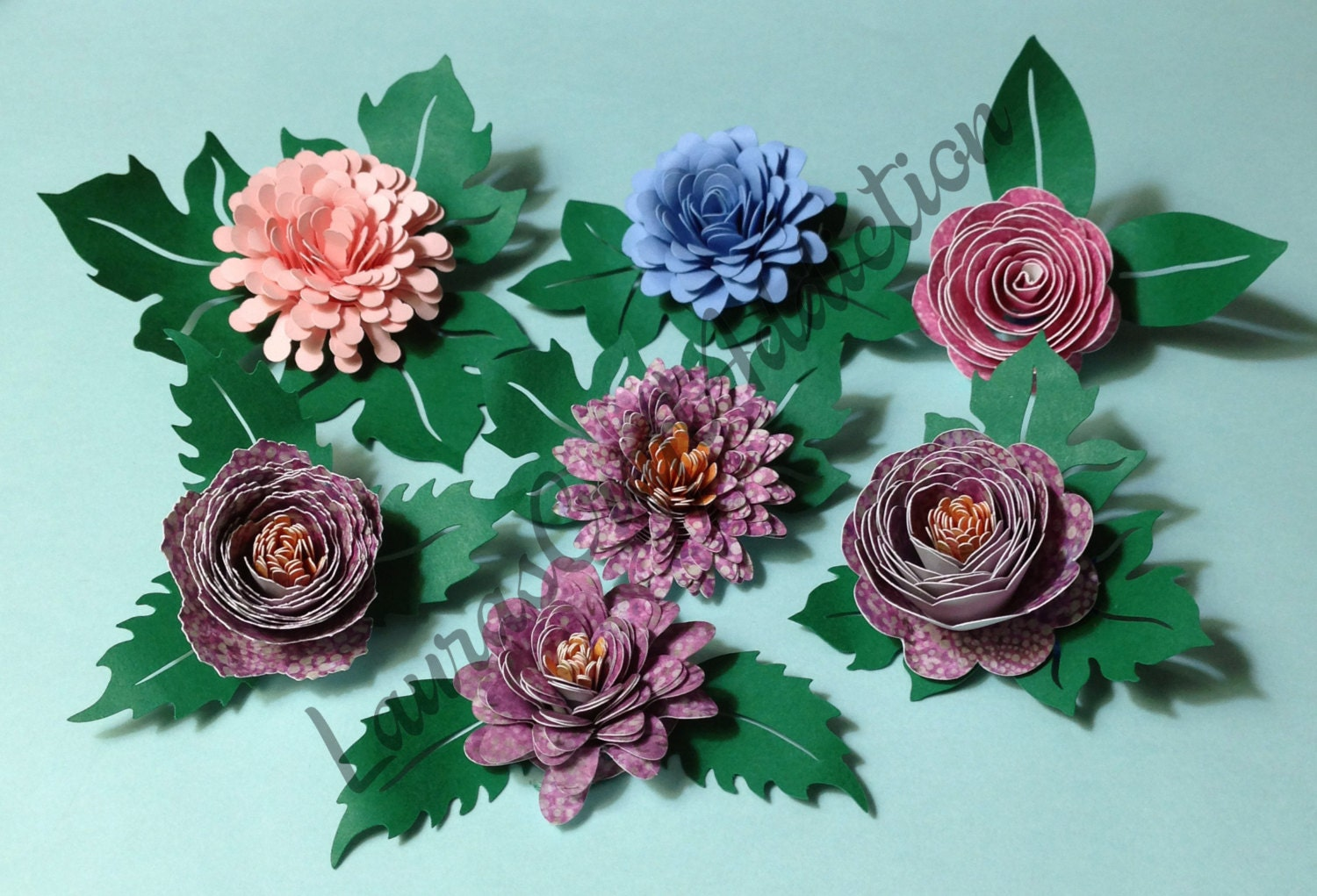 Paper Leaves Cut File 8 Designs Centers For Paper Flowers Etsy