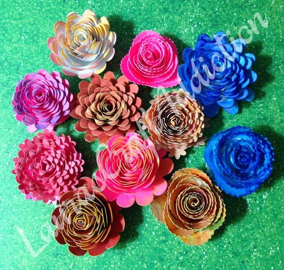 Commercial License Paper Flowers Template Svg 16 Designs Bouquet Of Rolled Roses Paper Flower Cut File Flower Svg Rolled Rose Svg