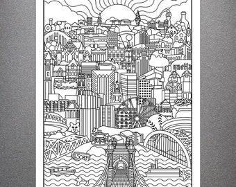Cincinnati Skyline by Billiter Studio - Adult Coloring Poster