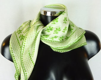 LANVIN 1970 white and green silk scarf VINTAGE