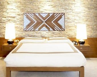 Wood Art, Reclaimed Wood, Geometric Wood Wall Art, Southwest, Headboard, Rustic Wood Art, Boho Wood Decor, Cottage Chic, Navajo, Tribal