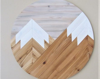 Round Mountain wood wall art, Mountain Range, Farmhouse Decor, Rustic Wood, Mountain Tops, Distressed, Snow Capped, , Reclaimed Wood