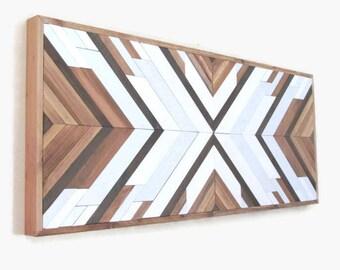 Reclaimed Wood Wall Art Boho Art Geometric Wood Etsy