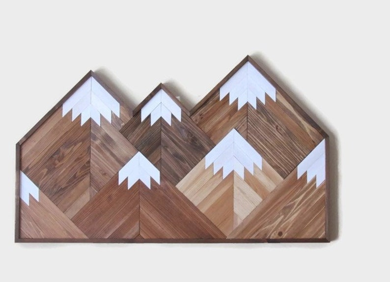 Mountain Wood Art 49 Geometric Mountain Range Wall Art Boho Mountain Top Peaks Rustic Wood Reclaimed Wood Wooden Mountains Headboard