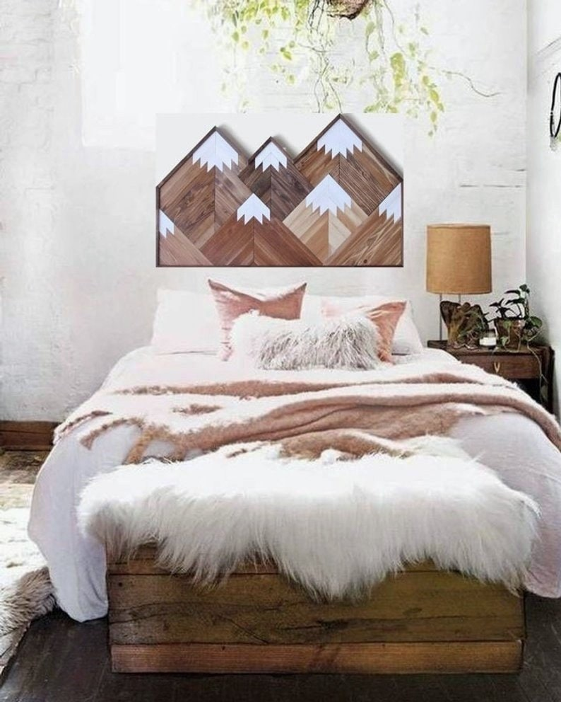 Mountain Wood Art 50 Geometric Mountain Range Wall Art Boho Mountain Top Peaks Rustic Wood Reclaimed Wood Wooden Mountains Headboard