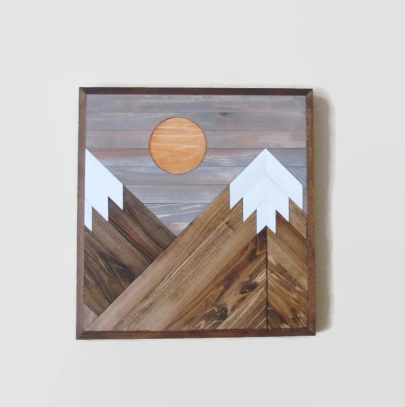 Mountain Wood Art Mountain Tops Range Reclaimed Wood Wall Art Wooden Mountains Geometric Wood Art Snow Capped Mountains Moon