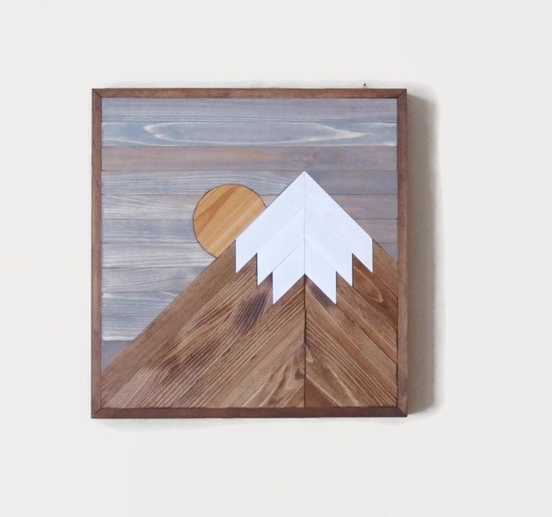 Mountain Wood Wall Art Mountain Range Farmhouse Decor Rustic Wood Art Mountain Tops Mountain Range Snow Capped Moon Reclaimed Wood