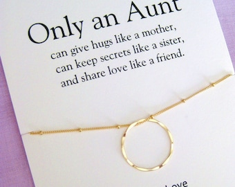 Aunt Gift Necklace Birthday For And Niece Gold Circle 60th Women
