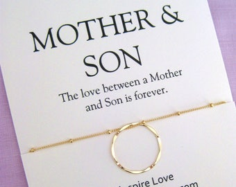 Mother Son Necklace Mom Gift Birthday Inspirational Jewelry For Gold Circle
