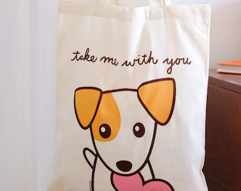 Canvas Tote Bag, Pet Tote Bag, Dog Tote Bag, Jack Russell Terrier, JRT, Gift for Dog Lover, Cute Bag, Cute Tote Bag , Gift Under 10