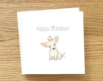 Dog Greeting Card - Chihuahua Birthday Card, Chihuahua card, Dog birthday card, Chihuahua Happy Birthday Card, White Chihuahua