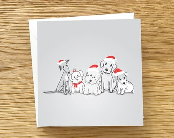 Dog Christmas card - Santa Paws, Santa Dogs, Greyhound, Maltese, Westie, Labrador, Jack Russell Terrier, group of dogs Christmas card
