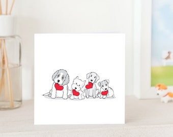 Dog Greeting card - Valentine's Dogs with Love, St Bernard, Westie, Yellow Lab and Jack Russell Terrier puppies with love