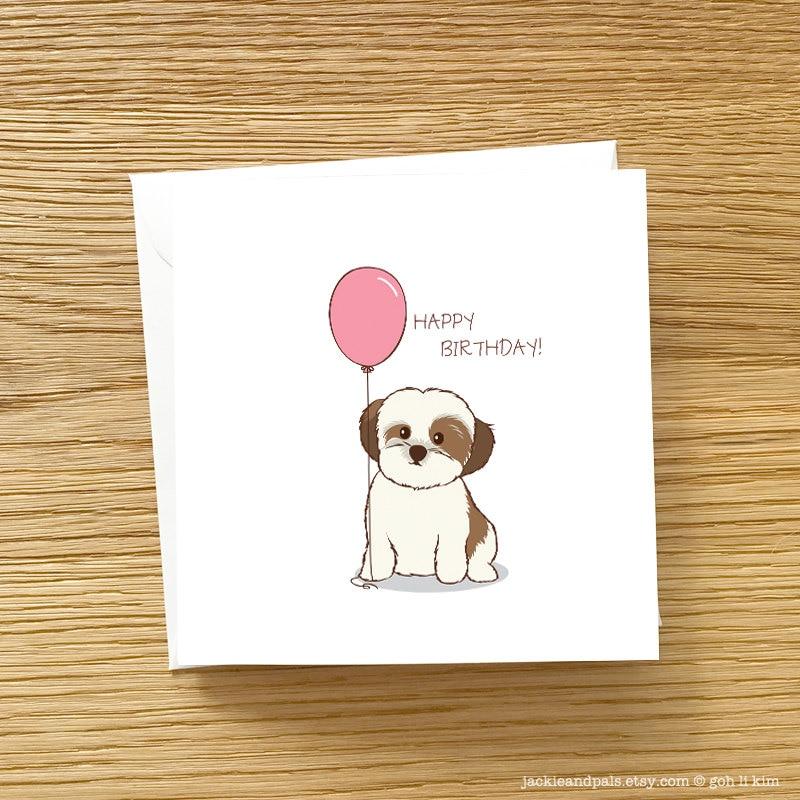 Dog Birthday Card Shih Tzu With Birthday Balloon Shih Tzu Etsy
