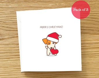 Dog Christmas Card Pack of 3 Cards - Jack Russell Terrier in Santa Hat with Love, JRT Card, JRT Christmas Card, Christmas Card pack