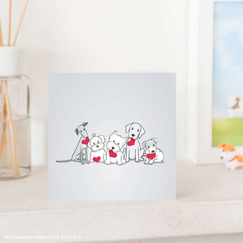 Dog Greeting Card  Valentine's Dogs with Love Greyhound image 0