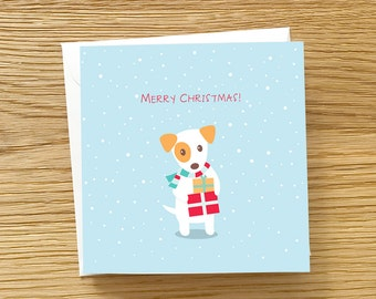 Dog Christmas Card -  Jack Russell Terrier Christmas Card, Christmas Present, JRT Christmas Card, Cute Christmas card, JRT with Presents