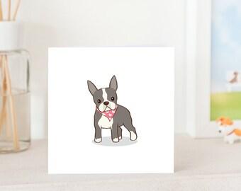 Dog Greeting Card - Boston Terrier wearing love bandana, Boston Terrier Card, All Occasion Card, Cute Card for Boston Terrier Lover