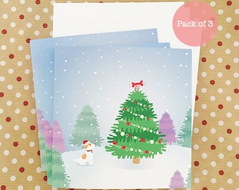 Dog Christmas Card Pack of 3 Cards - Jack Russell Terrier Singing Under the Christmas Tree, JRT Christmas Card, Christmas card pack