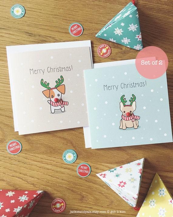 1720487ef98 Dog Christmas Card Set of 2 Cards Reindeer Dog Christmas