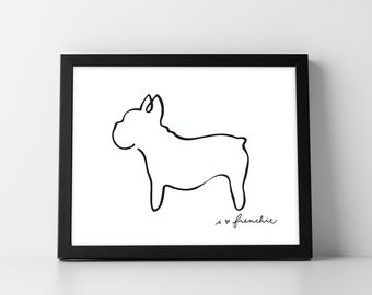 French Bulldog Print - Abstract French Bulldog Line Drawing, Home Decor, Picasso Inspired Frenchie Print, Minimalist Dog Print, Dog Print