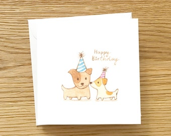 Dog Birthday Cards - Reproduction of Hand Painted watercolor dog couple Birthday Card, Love Birthday Card, Cute Birthday Card for Dog Lover