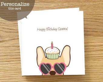 Dog Custom Birthday Card - French Bulldog Birthday Card, Frenchie birthday card, Birthday Card for Frenchie Lover, Birthday Card for Women