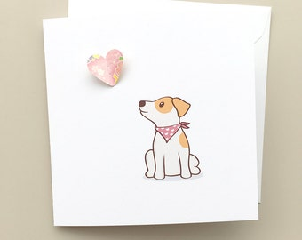 Dog Greeting Card - Jack Russell Terrier Puppy with Paper Pop up Heart, Paper Butterfly Heart, JRT card, Love you card, JRT Love card
