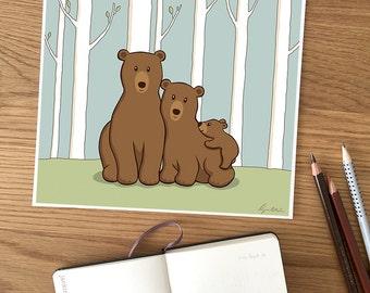 Bear Print - Bear Family, Papa Bear, Mama Bear, Baby Boy Cub, Animal Print for Nursery, Home Decor, Nursery Decor, Woodland Creatures