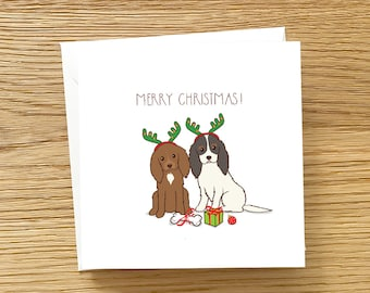 Dog Greeting Card - Cavalier King Charles Spaniel Christmas Card, Dog Christmas Card, Reindeer Christmas Card, Cavalier Christmas