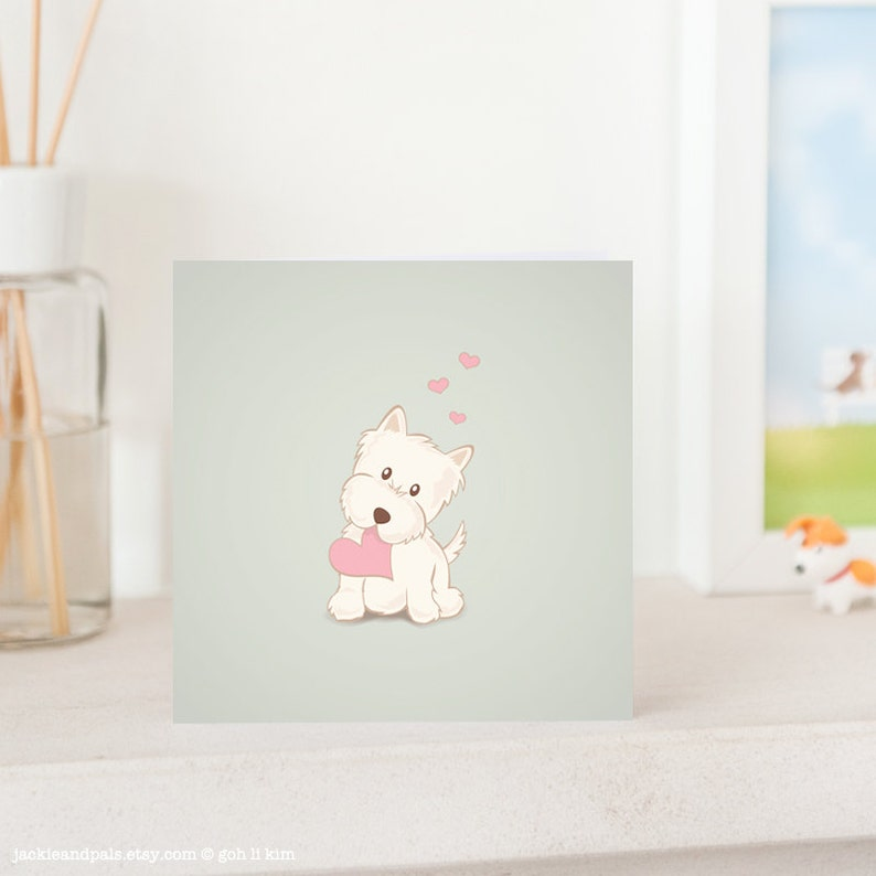 Dog Greeting Card   Cute Westie with Love White West image 0