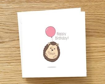 Hedgehog Greeting Card - Cute Hedgehog with balloon, Hedgehog Birthday Card, Hedgehog card, Baby Hedgehog Card, Card for hedgehog lovers