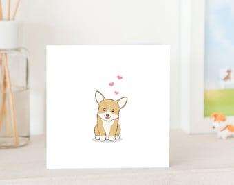 Dog Greeting Cards - Cute Corgi with Love, Corgi Love card, Corgi Greeting Card, Cute Card for Corgi Lover, Dog Illustration