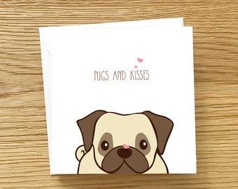 Dog Love Card - Pugs and Kisses, Pug love card, Pug Birthday Card, Cute card for Pug Lover, pug card, pugs and kisses card