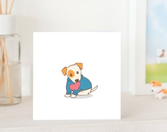 Dog Greeting Card  - Jack Russell Terrier in Cute Jumper with Love, cute card for JRT Lover, JRT card, I love you card ,love you card