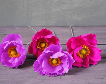 4 purple and fuchsia Poppies, bridal bouquet, bridesmaids bouquet, wedding bouquet, paper flower bouquet, wedding paper flowers, paper poppy