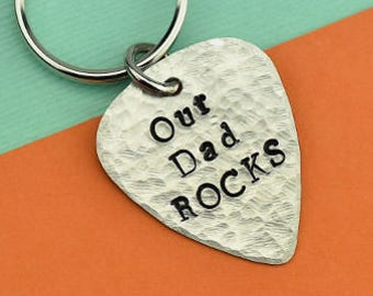 Our Dad Rocks Keychain, Dad Keychain, Guitar Pick Keychain, Fathers Keychain, Fathers Day Keychain, Stamped Keychain, Dad Keychain, Father