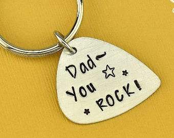 Dad You Rock Keychain, Dad Keychain, Guitar Pick Keychain, Pick Keychain, Dad Gift, Fathers Keychain, Fathers Day Keychain, Stamped Keychain