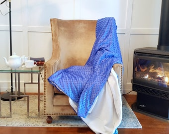 FREE SHIPPING Cozy Blue and White Throw Blanket, Soft Fleece