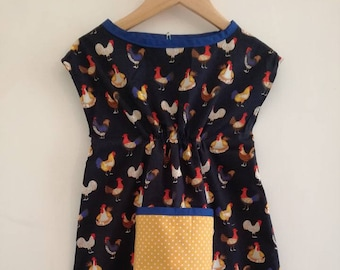 Navy Chicken Smock Dress